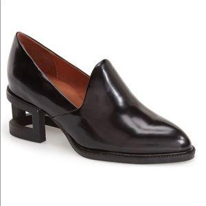 Jeffrey Campbell Black Suede Loafer Heels